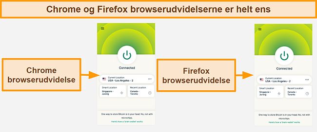 Skærmbillede af ExpressVPNs browserudvidelse til Google Chrome og Mozilla Firefox