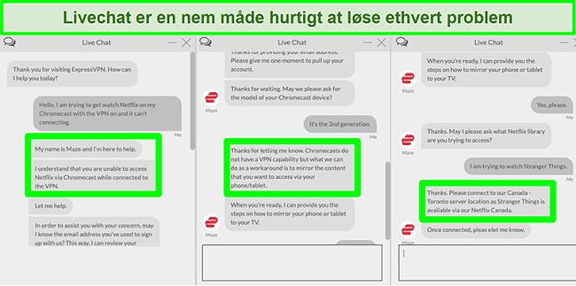 Skærmbillede af en bruger, der kontakter ExpressVPN over 24/7 live chat og spørger, hvordan man ser Netflix med Chromecast