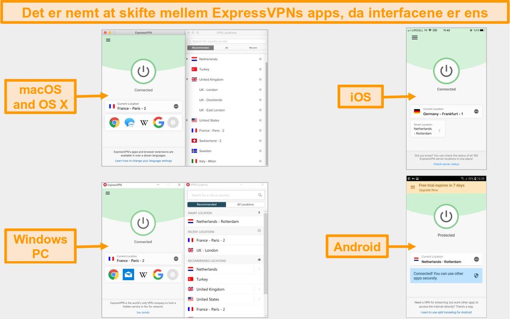 Sammenligning af ExpressVPN mac, OS X, iOS, Windows og Android app brugergrænseflade og layout