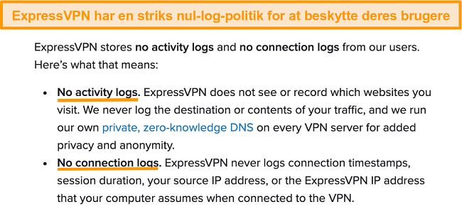Skærmbillede af ExpressVPNs privatlivspolitik på sit websted