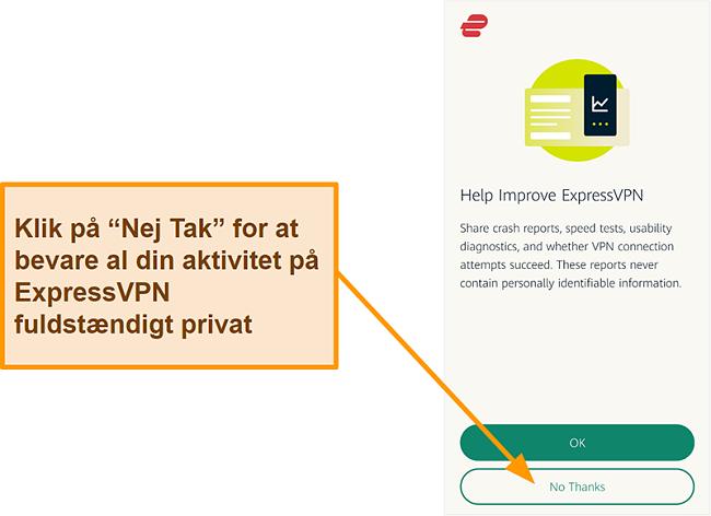 Skærmbillede af ExpressVPN-appen, der beder om brugertilladelse til at dele crashrapporter, hastighedstest og andre brugerdata med virksomheden