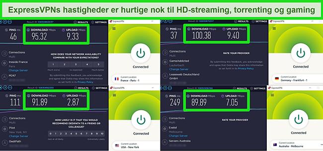 Screenshots af ExpressVPNs hastighedstestresultater, når de er forbundet til forskellige servere globalt