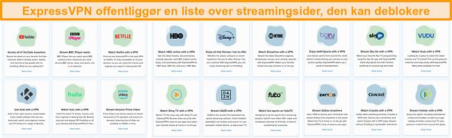 Skærmbillede af ExpressVPNs websted, der viser alle streamingtjenester, det kan fjerne blokering, herunder Netflix og BBC iPlayer