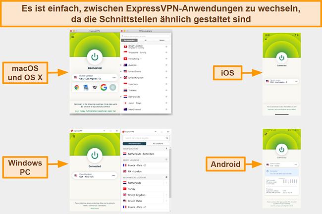 Screenshot der ExpressVPN-App-Oberflächen für Windows, Android, Mac und iPhone