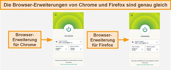 Screenshot der Browser-Erweiterung des ExpressVPN für Google Chrome und Mozilla Firefox