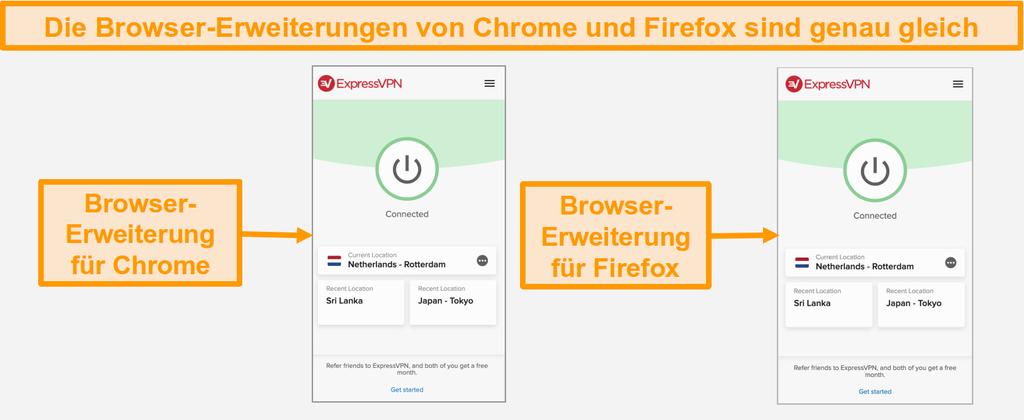 Screenshot der Browser-Erweiterungen von ExpressVPN für Chrome und Firefox