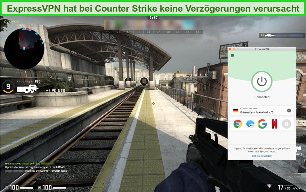 Screenshot des Online-Spiels Counter-Strike: Global Offensive, während eine Verbindung zu ExpressVPN besteht