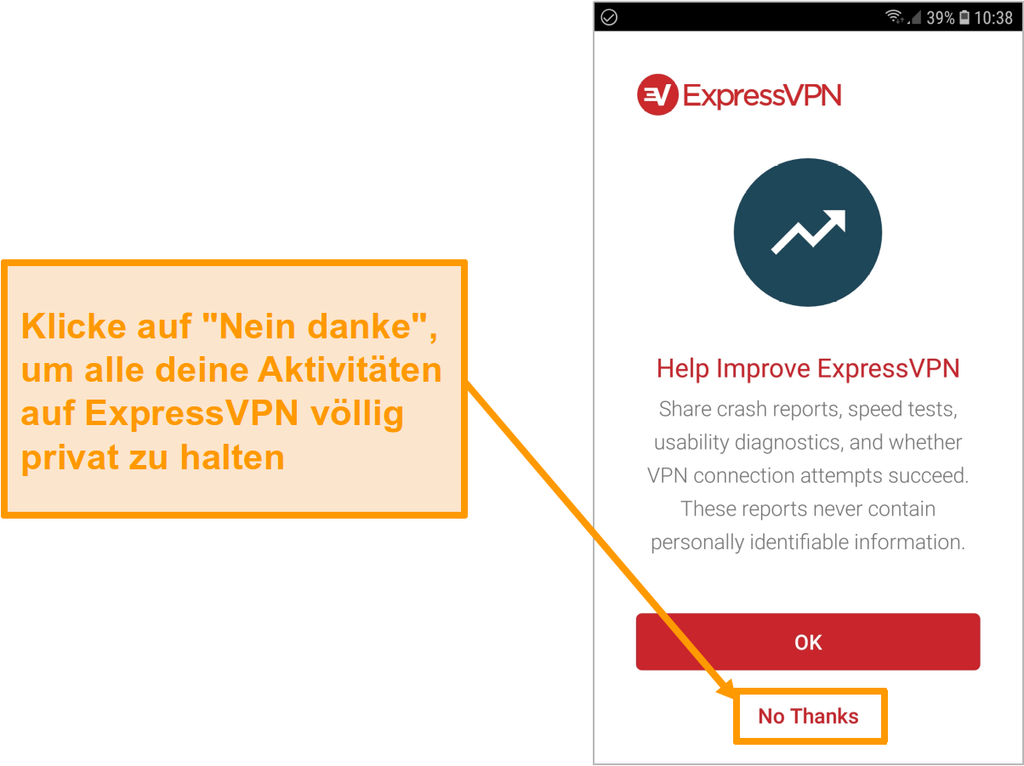 Screenshot der Android-App von ExpressVPN mit der Aufforderung, auf Absturzberichte, Geschwindigkeitstests, Usability-Diagnosen und VPN-Verbindungsfehler zuzugreifen