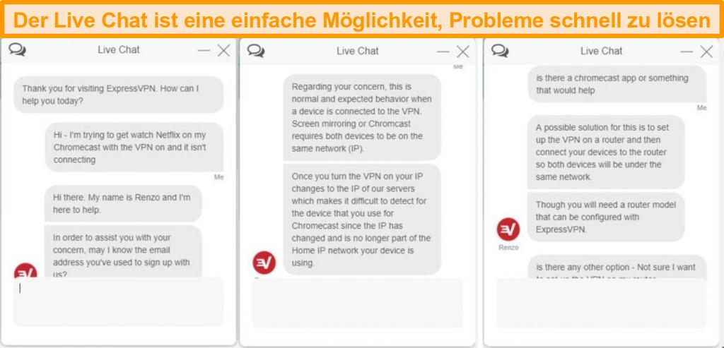 Screenshot eines Live-Chat-Gesprächs mit einem ExpressVPN-Kundendienstmitarbeiter