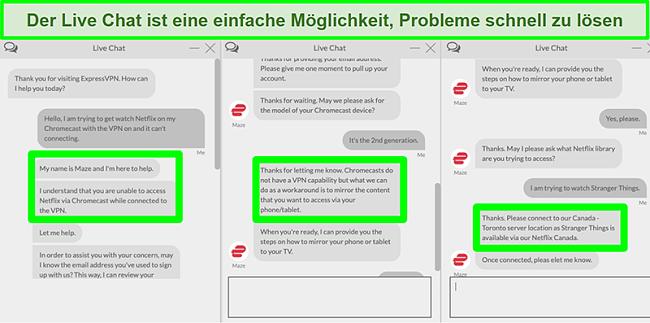 Screenshot eines Benutzers, der sich über einen 24/7-Live-Chat mit ExpressVPN in Verbindung setzt und fragt, wie er Netflix mit Chromecast ansehen soll
