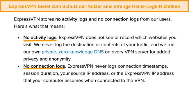 Screenshot der Datenschutzrichtlinie von ExpressVPN auf seiner Website
