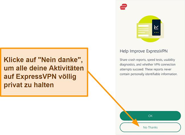 Screenshot der ExpressVPN-App, in der Sie um die Erlaubnis des Benutzers gebeten werden, Absturzberichte, Geschwindigkeitstests und andere Benutzerdaten für das Unternehmen freizugeben