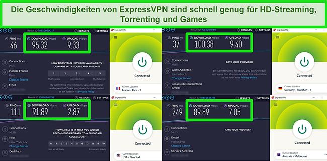 Screenshots der Geschwindigkeitstestergebnisse von ExpressVPN bei globaler Verbindung mit verschiedenen Servern