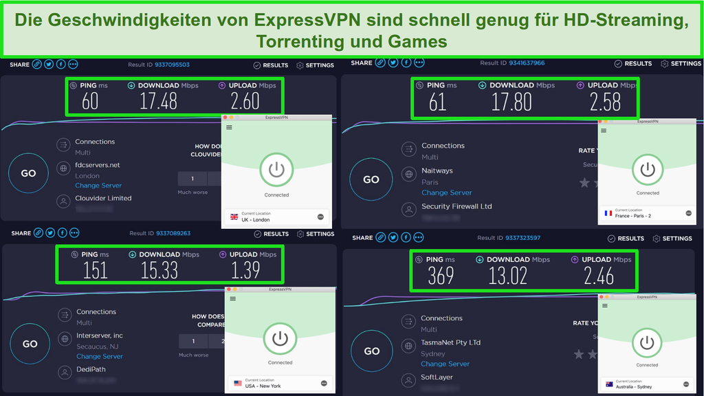 Screenshot der Geschwindigkeitstestergebnisse von ExpressVPN bei Verbindung mit Servern in Großbritannien, Frankreich, den USA und Australien