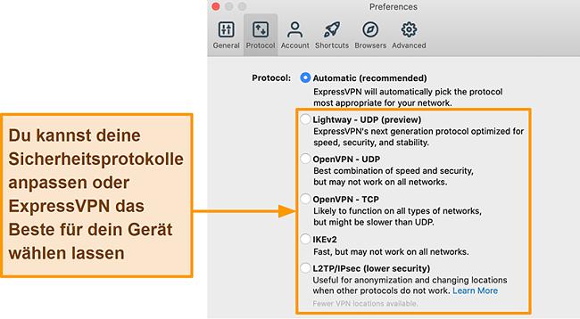 Screenshot der ExpressVPN-App mit allen verfügbaren Protokollen, einschließlich Lightway, OpenVPN, IKEv2 und L2TP / IPsec