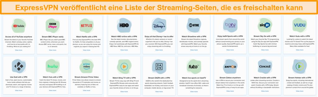 Screenshot der ExpressVPN-Website mit allen Streaming-Diensten, die entsperrt werden können, einschließlich Netflix und BBC iPlayer