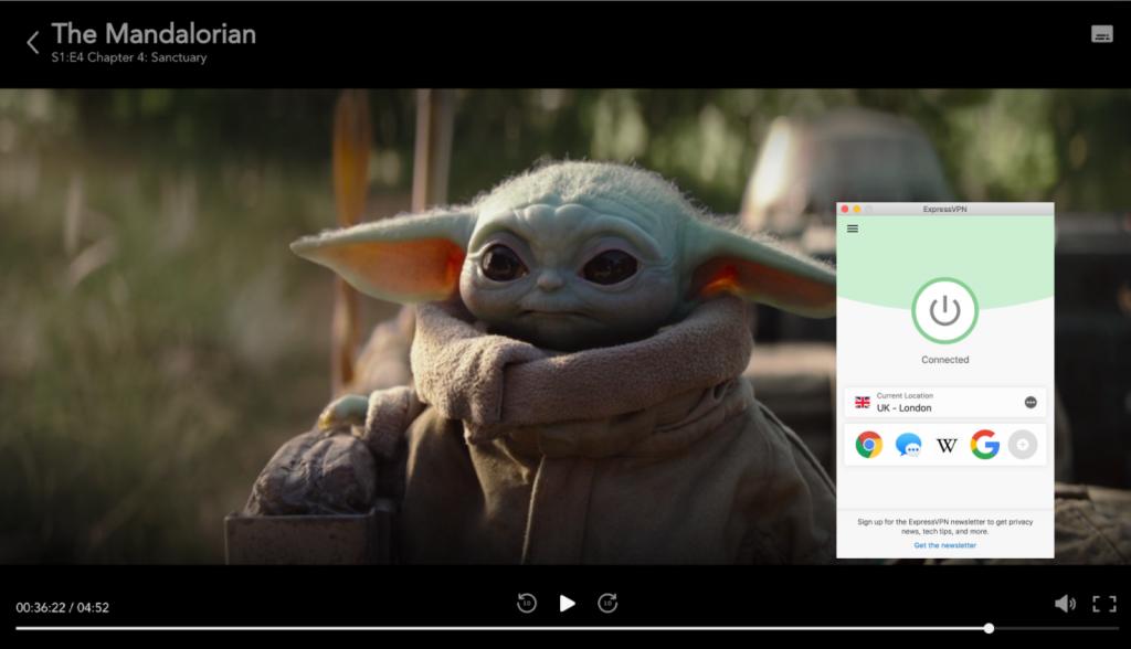 Снимка на екрана на Disney Plus, който играе на Mandalorian, докато е свързан с ExpressVPN във Великобритания