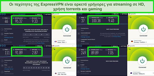 Στιγμιότυπα οθόνης των αποτελεσμάτων της δοκιμής ταχύτητας του ExpressVPN όταν συνδέονται σε διαφορετικούς διακομιστές παγκοσμίως