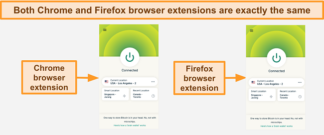 Screenshot of the ExpressVPN's browser extension for Google Chrome and Mozilla Firefox