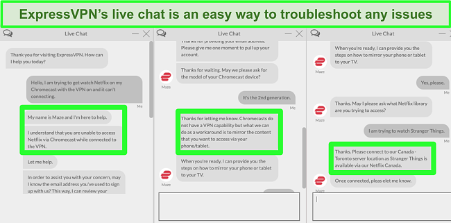 Screenshot of a user contacting ExpressVPN over 24/7 live chat and asking how to watch Netflix with Chromecast