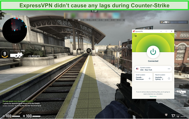 Screenshot of ExpressPVN connected to a US server while a user is playing Counterstrike