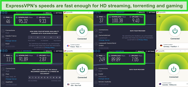 ExpressVPN speed tests showing server speeds in 4 different locations