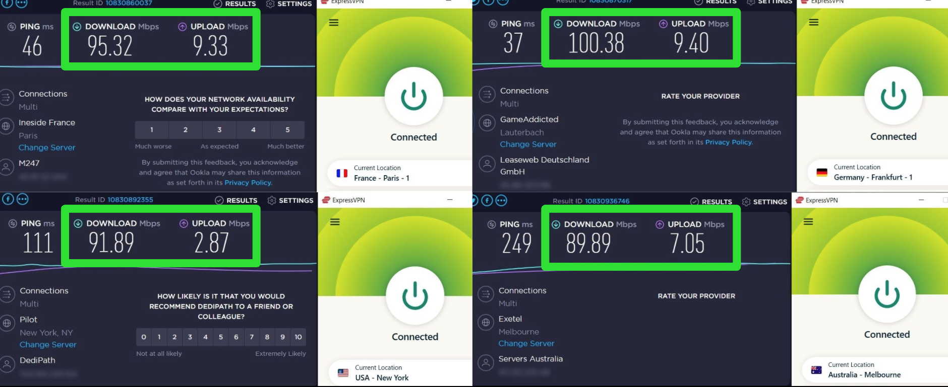 Screenshots of ExpressVPN's speed test results when connected to different servers globally