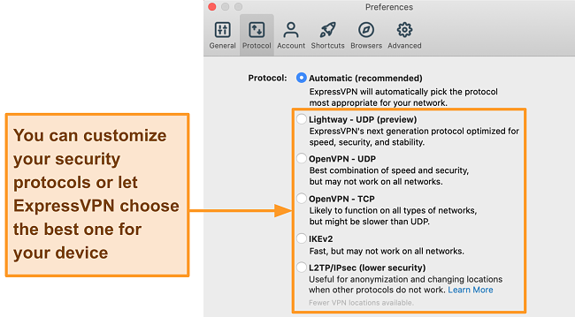 Screenshot of the ExpressVPN app displaying all the available protocols including Lightway, OpenVPN, IKEv2 and L2TP/IPsec