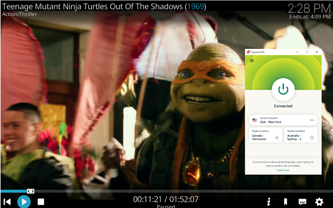 Screenshot of ExpressVPN connected to a US New York server and unblocking Teenage Mutant Ninja Turtles on Kodi