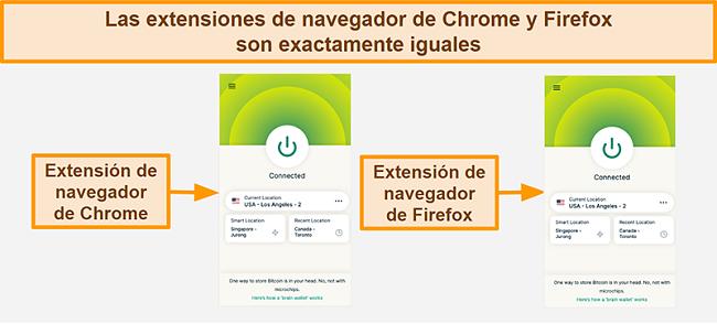 Captura de pantalla de la extensión del navegador de ExpressVPN para Google Chrome y Mozilla Firefox