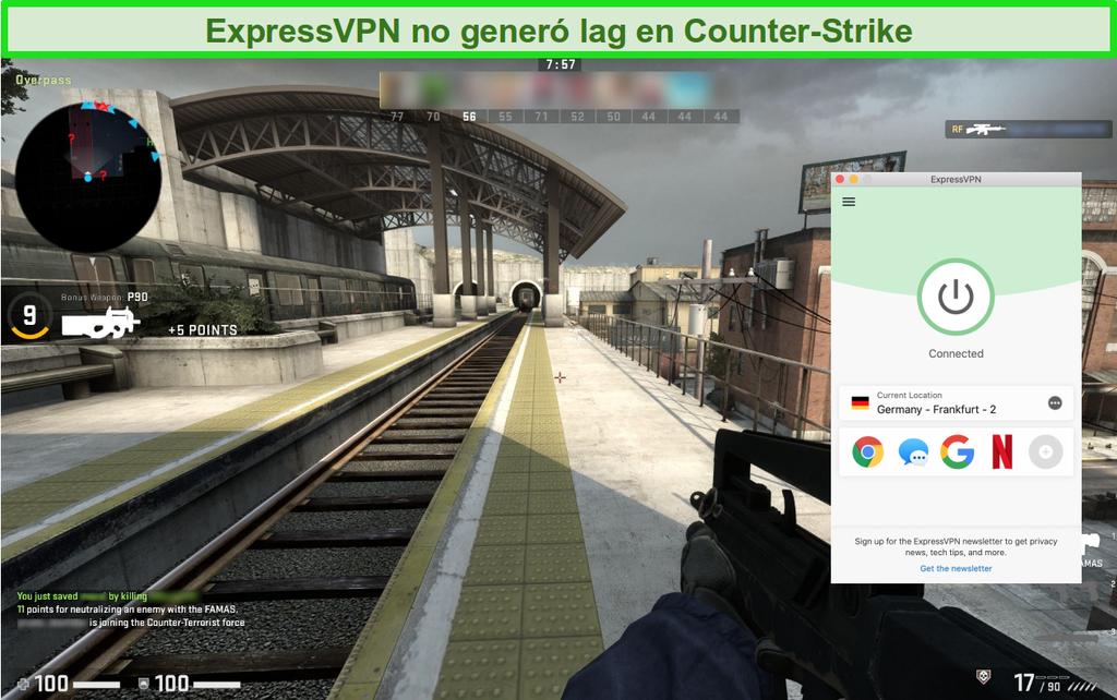 Captura de pantalla del juego en línea Counter-Strike: Global Offensive mientras está conectado a ExpressVPN