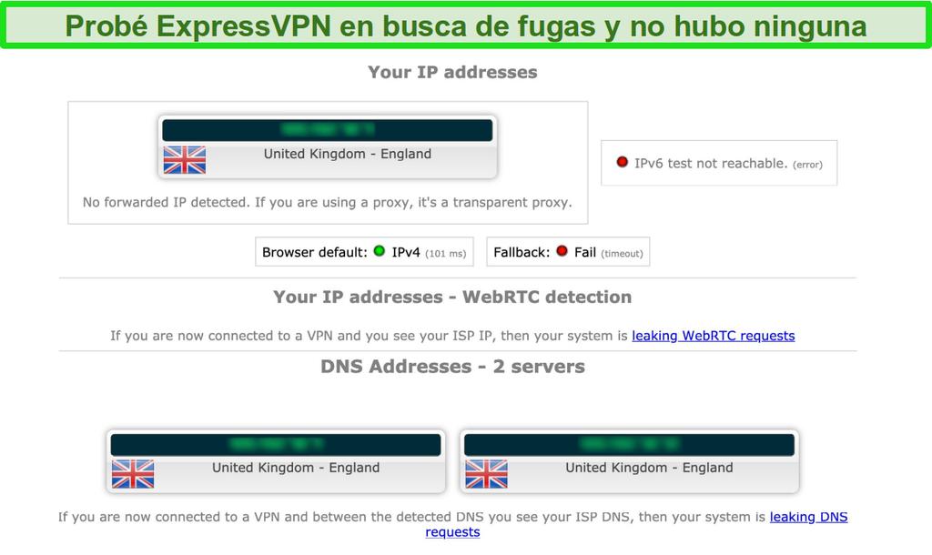 Captura de pantalla de los resultados de la prueba de fugas de ExpressVPN mientras está conectado a un servidor en el Reino Unido