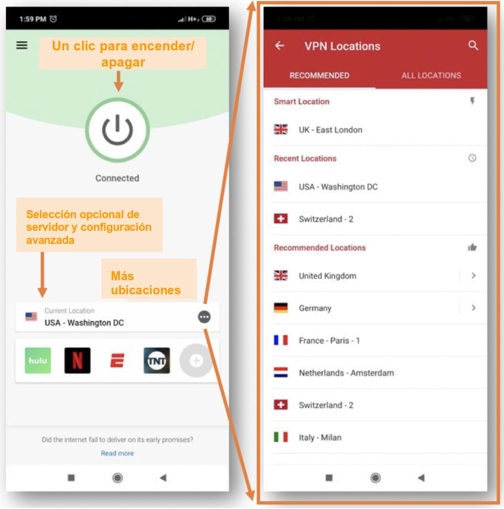 Captura de pantalla de la aplicación móvil ExpressVPN