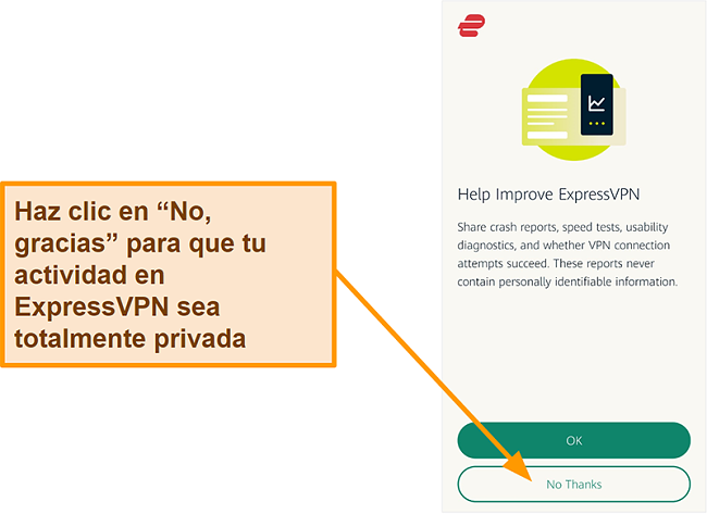 Captura de pantalla de la aplicación ExpressVPN que solicita permiso al usuario para compartir informes de fallas, pruebas de velocidad y otros datos del usuario con la empresa.