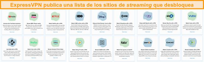 Captura de pantalla del sitio web de ExpressVPN que enumera todos los servicios de transmisión que puede desbloquear, incluidos Netflix y BBC iPlayer