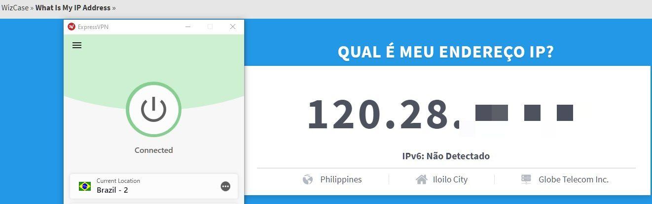 O ExpressVPN mudou com sucesso o meu endereço IP