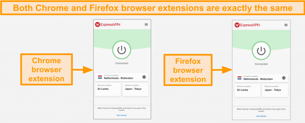 Screenshot of ExpressVPN's browser extensions for Chrome and Firefox