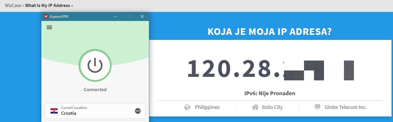 ExpressVPN je uspješno promijenio moju IP adresu