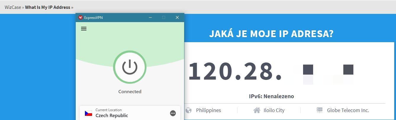 ExpressVPN úspěšně změnil mou IP adresu