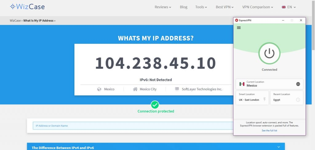ExpressVPN successfully changed m IP address