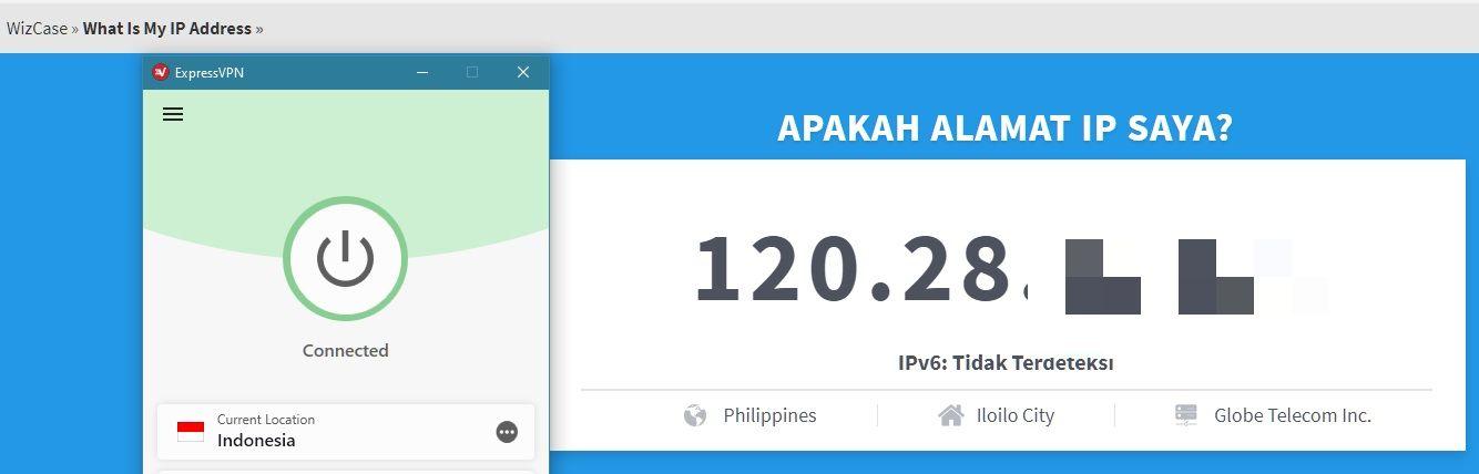 ExpressVPN berhasil mengubah alamat IP saya