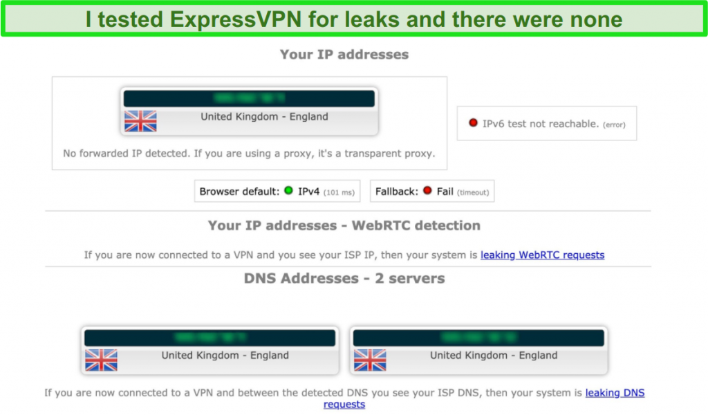 Screenshot of ExpressVPN's leak test results while connected to a server in the UK