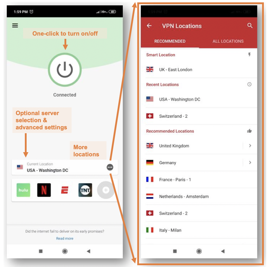 ExpressVPN Mobile App Screenshot