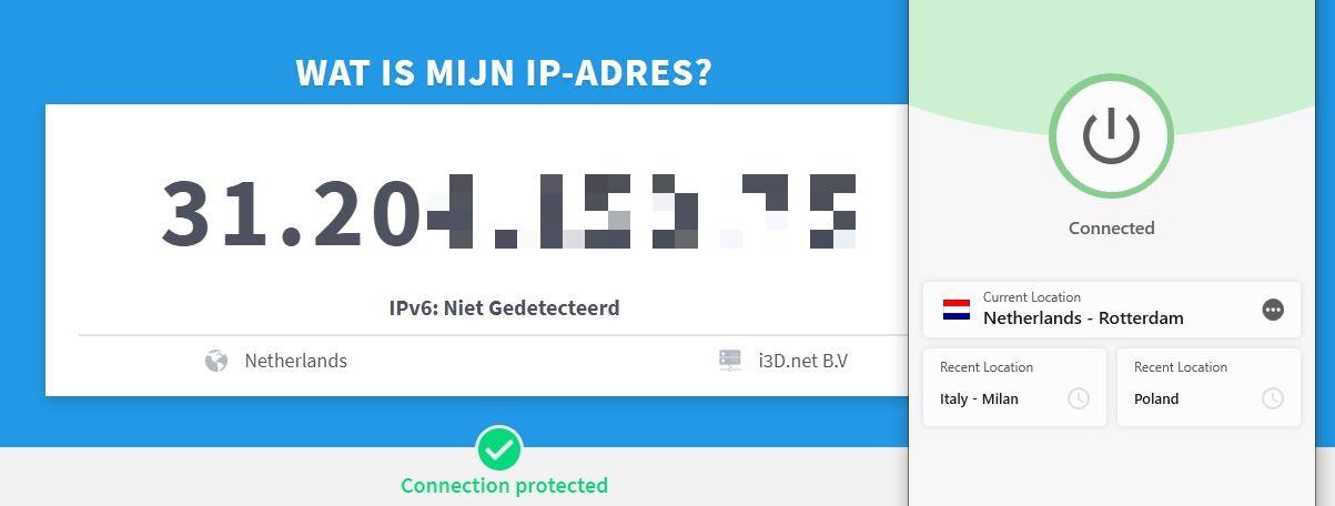 ExpressVPN heeft met succes mijn IP-adres gewijzigd