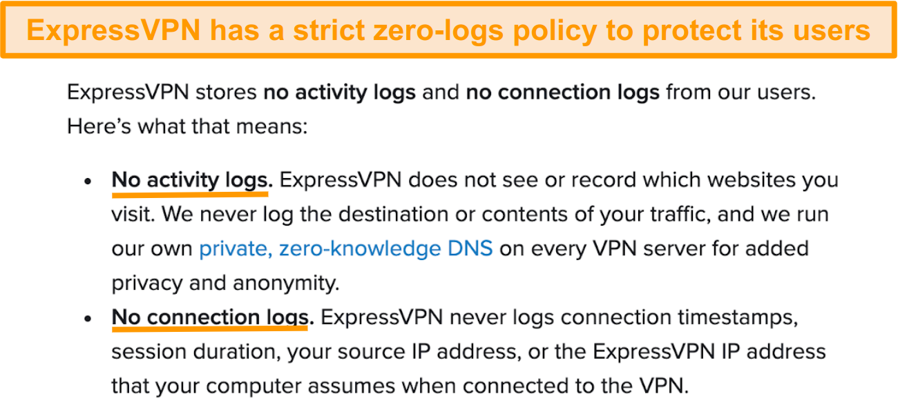 Screenshot of ExpressVPN's privacy policy on its website