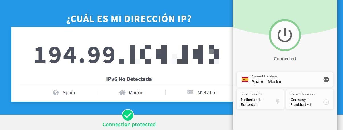 ExpressVPN cambió con éxito mi dirección IP