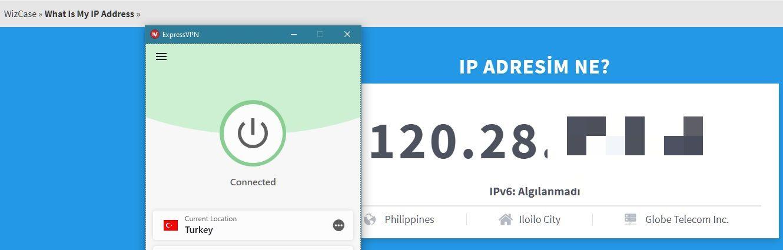 ExpressVPN IP adresimi başarıyla değiştirdi
