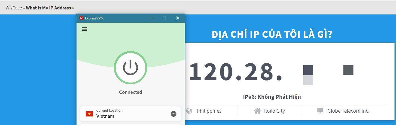 ExpressVPN đã thay đổi thành công địa chỉ IP của tôi
