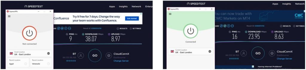 ExpressVPN smart location speed test