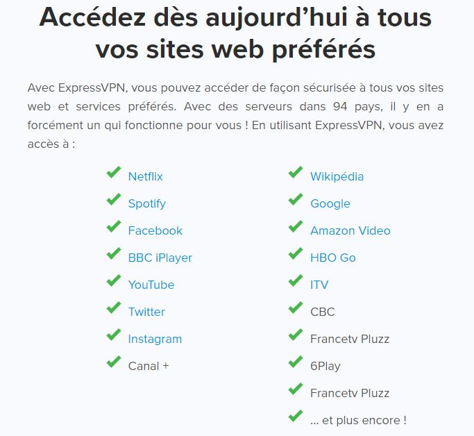 ExpressVPN streams with - French